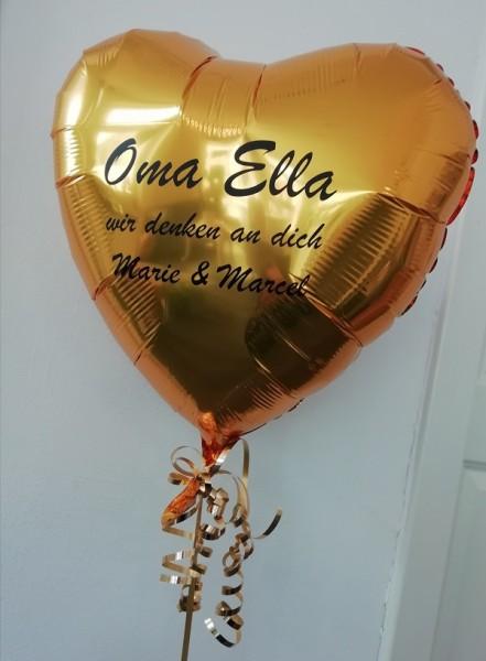 Heliumballon Herz gold, mit Wunschtext/Karte und gratis Lieferung-Copy