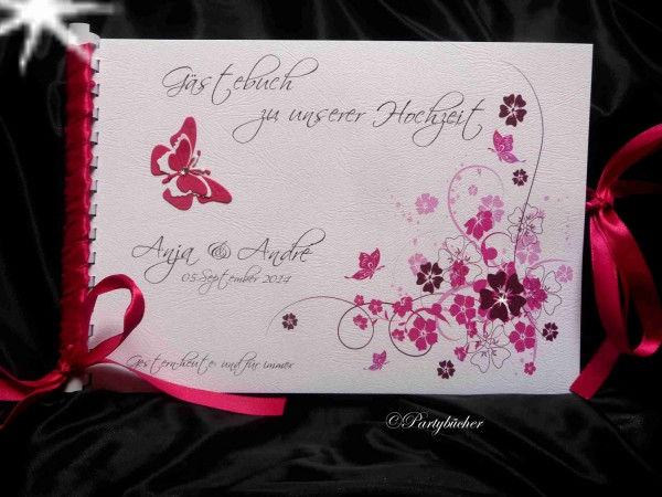 Hochzeitsgästebuch mit Fragen für die Gäste, pink