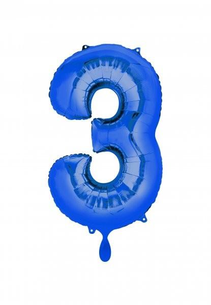 """XXL Zahlenballon """"3"""" blau inkl. Füllung"""