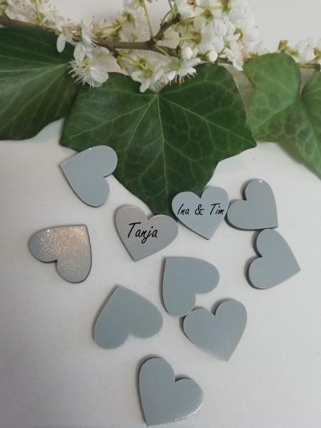 Holzherzen grau lackiert, 3 cm ( Verpackungseinheit 10 Stück)