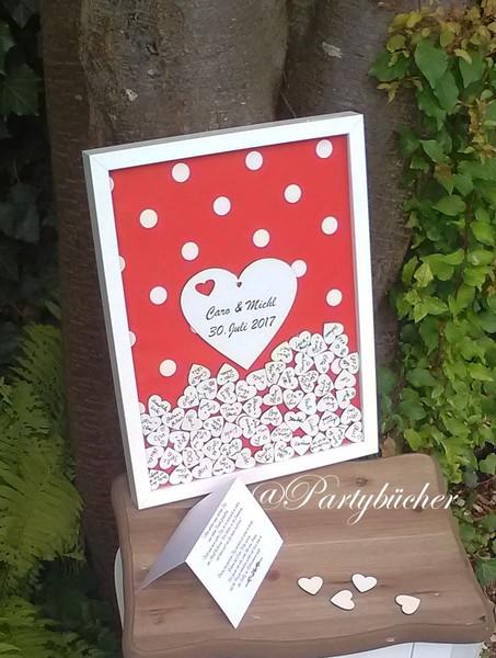 Hochzeits Gästebuch Bilderrahmen Holzherzen Holz rot
