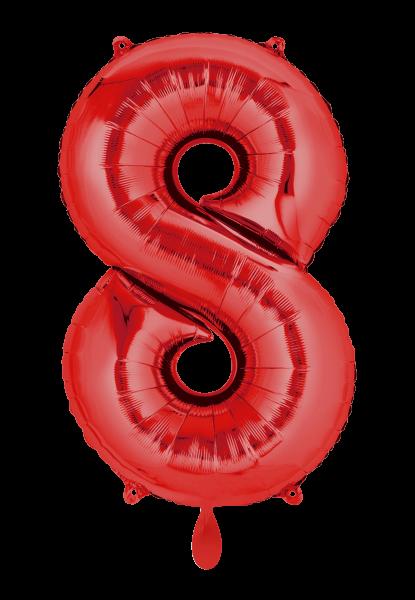 """XXL Zahlenballon """"8"""" rot inkl. Füllung"""
