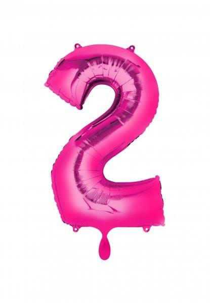 """XXL Zahlenballon """"2"""" pink inkl. Füllung"""