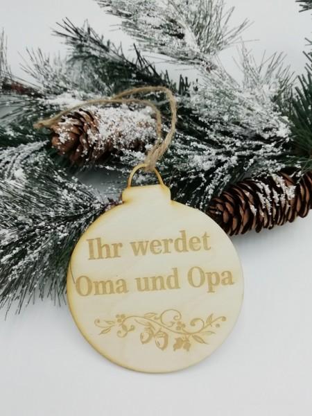 """Weihnachtlicher Holzhänger """"Ihr werdet Oma und Opa"""" für die perfekte Überraschnung am Tannenbaum-"""