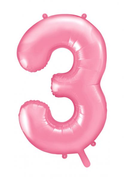 """XXL Zahlenballon """"3"""" Babyrosa inkl. Füllung"""