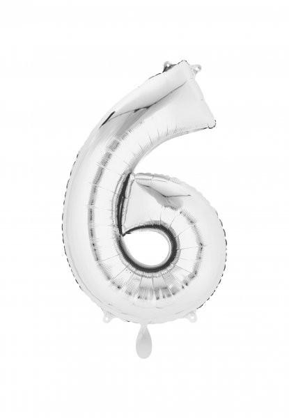 """XXL Zahlenballon """"6"""" silber inkl. Füllung"""