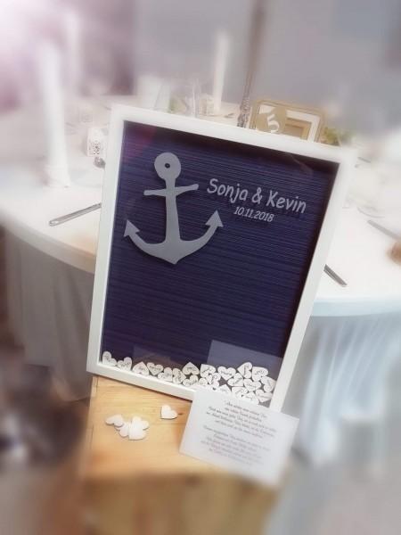 """Gästebuchrahmen """"Ankerliebe"""" als Hochzeitsgästebuch im maritimen Style"""