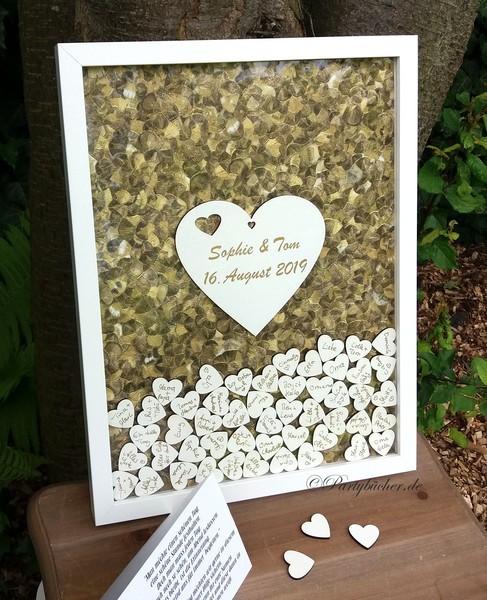 Hochzeitsgästebuch alternative Bilderrahmen gold