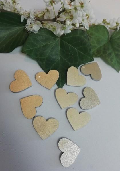 Holzherzen gold lackiert, 3 cm ( Verpackungseinheit 10 Stück)