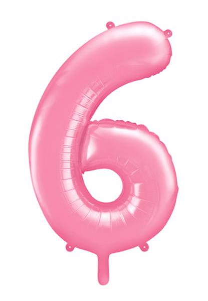 """XXL Zahlenballon """"6"""" Babyrosa inkl. Füllung"""