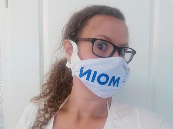 Mund-Nasen-Maske Kunstleder weiß/Glitzer