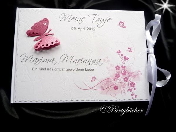 Gästebuch Taufe DIN A5 Schmetterling rosa schimmer