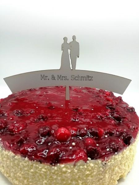Cake Topper Mr. und Mrs. mit Wunschnamen und Brautpaar