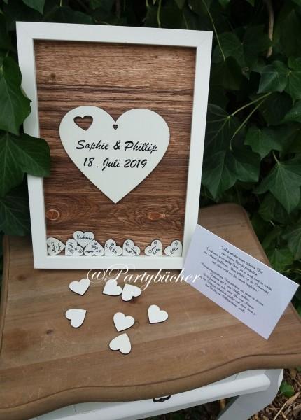 Hochzeitsgästebuch mit Holzherzen zum einwerfen