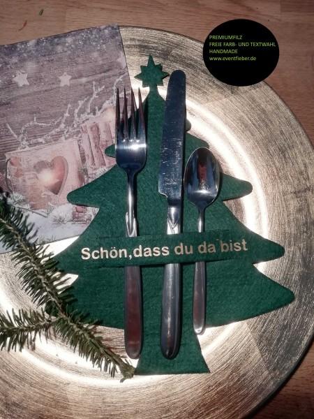 Besteckhalter, Bestecktasche aus dickem Premiumfilz Tannenbaun Weihnachtsbaum