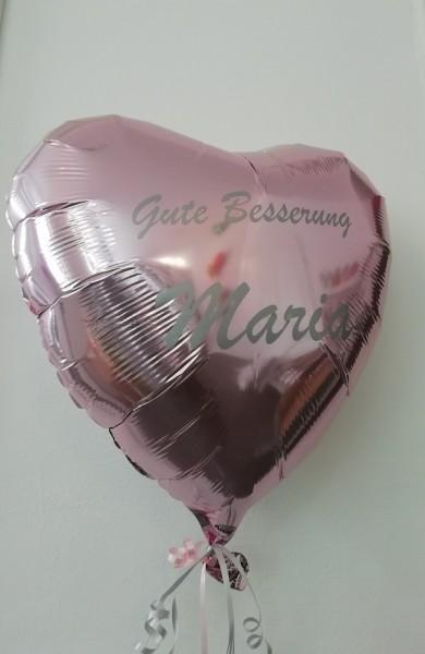 Heliumballon rosa Herz mit Wunschtext/Karte und gratis Lieferung