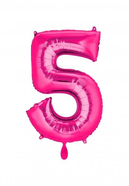 """XXL Zahlenballon """"5"""" pink inkl. Füllung"""