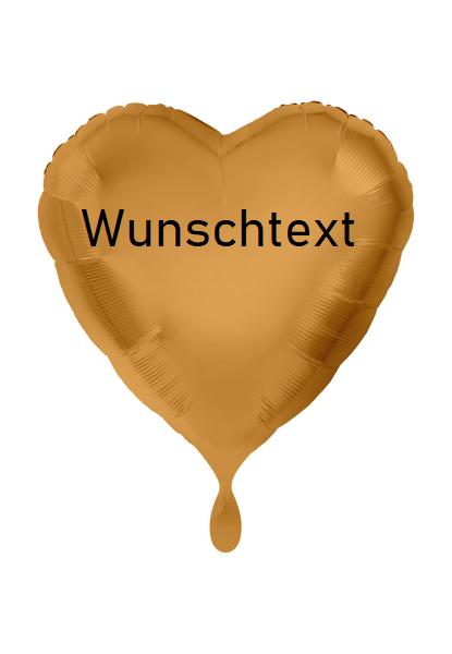 XXL Heliumballon Herz gold, mit Wunschtext/Karte und gratis Lieferung