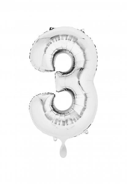 """XXL Zahlenballon """"3"""" silber inkl. Füllung"""