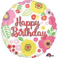 """Heliumballon """" Happy birthday blumen"""""""