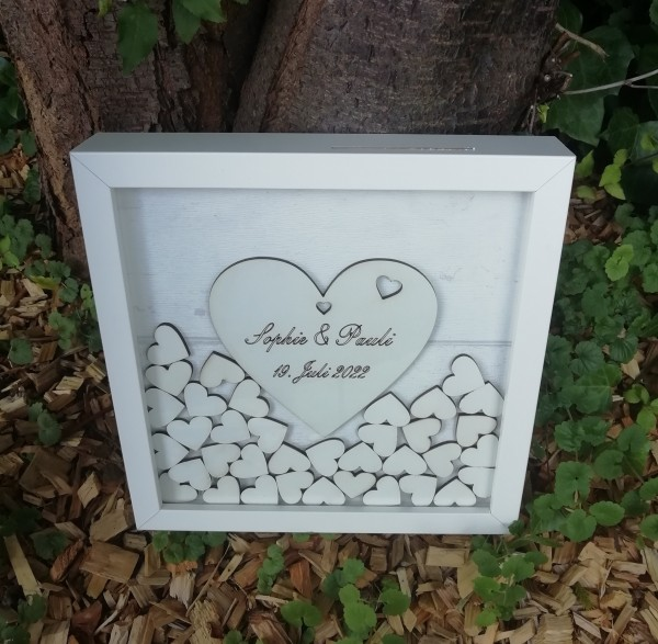 Gästebuch Hochzeit Quadratisch Weiß, ,Gästebuchrahmen mit Holzherzen für die kleine Hochzeit
