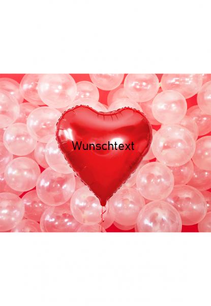 XXL Heliumballon Herz rot, mit Wunschtext/Karte und gratis Lieferung