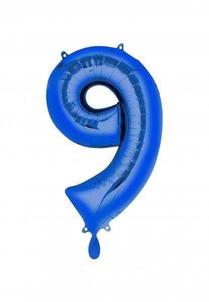 """XXL Zahlenballon """"9"""" blau inkl. Füllung"""