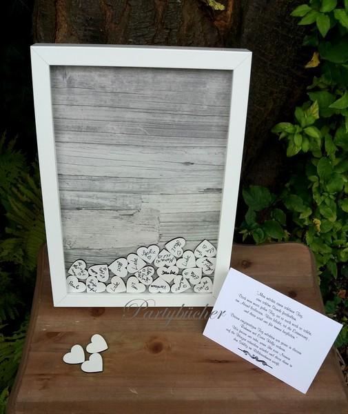Hochzeitsgästebuch als Bilderrahmen, grau Holz