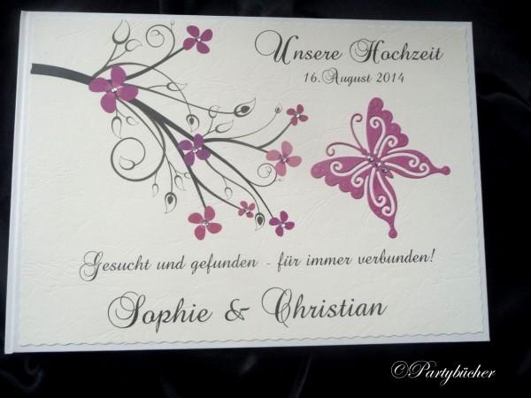 Gästebuch creme magenta pink