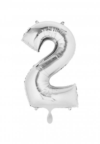 """XXL Zahlenballon """"2"""" silber inkl. Füllung"""