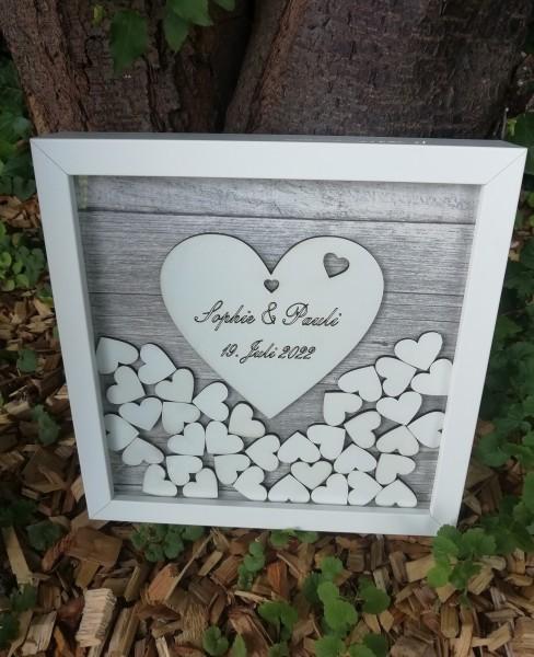 Gästebuch Hochzeit Quadratisch grau gestreift ,Gästebuchrahmen mit Holzherzen für die kleine Hochzei