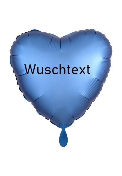 Heliumballon blau/Herzform, mit Wunschtext/Karte und gratis Lieferferservice /Regional
