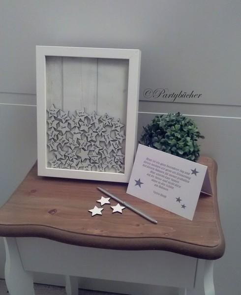 Hochzeitsgästebuch mit Holzherzen